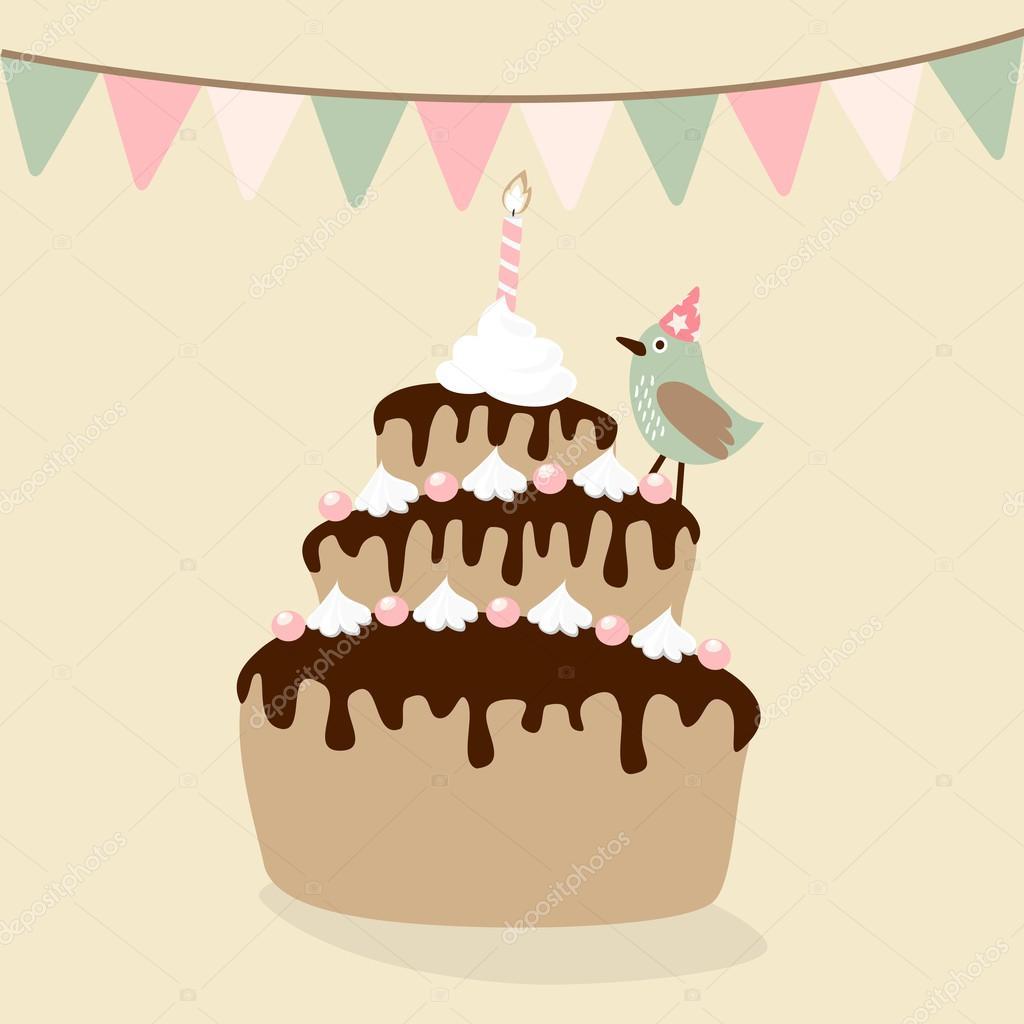 Susse Retro Geburtstag Einladung Karte Mit Kuchen Vogel Und Fahnen
