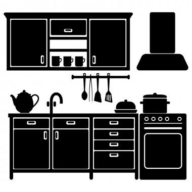 Set of black kitchen icons, furniture and utensils, vector illustration