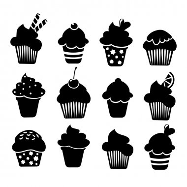 Set of black cupcakes and muffins icons, vector illustrations isolated on white background