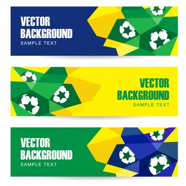 Set of abstract modern polygon banners in Brazilian flag and football design, vector illustration  background