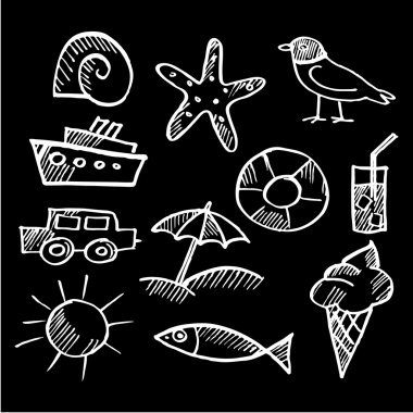 Set of summer chalk doodles, sketches isolated on black background, vector illustrations