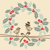 Fotografie Retro Weihnachtsgrußkarte mit Vögeln und Stechpalme, Vektor
