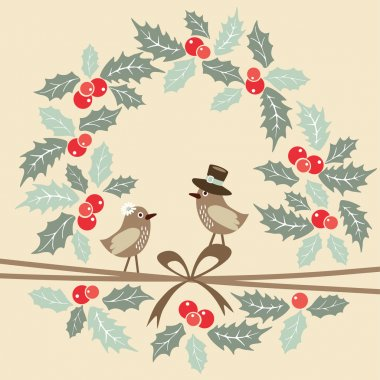 Retro christmas greeting card with birds and holly, vector