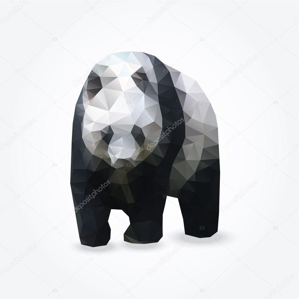 Modern polygon illustration of giant panda, vector
