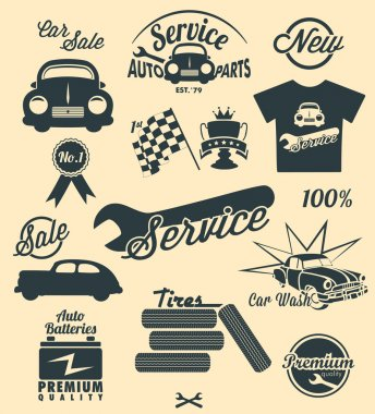 Car icons and labels