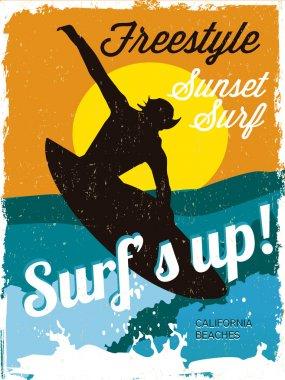 Surfer vintage poster