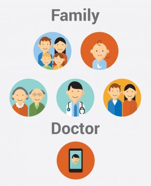 Vector collection of stylish family, doctor and cell phone in modern flat design style