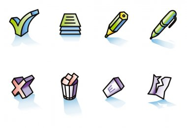 Set of icons, office: writing