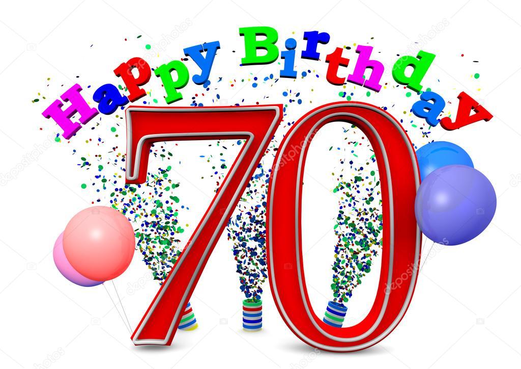 Happy 70th Birthday Stock Photo