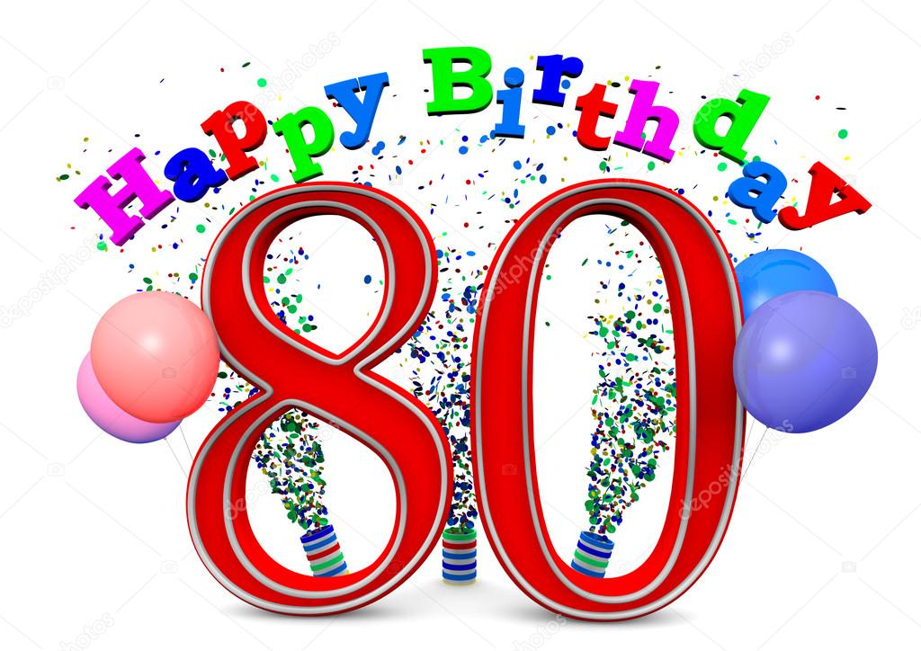 Happy 80th Birthday Stock Photo