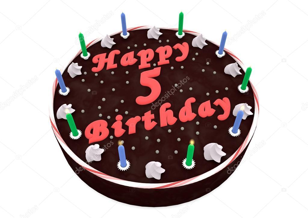 Schokoladenkuchen Zum 5 Geburtstag Stockfoto C Jonaswolff 33690561