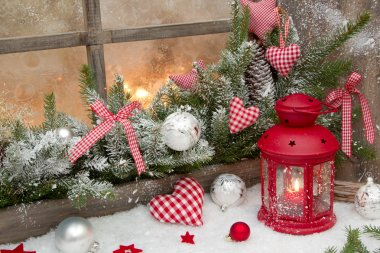 Red rustic christmas decoration