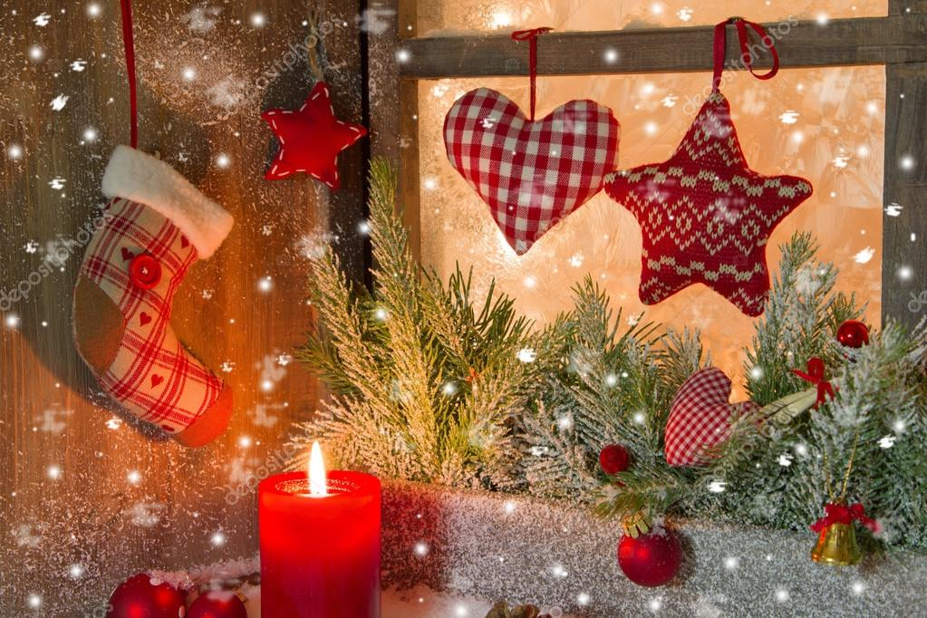 christmas decoration on window sill stock photo