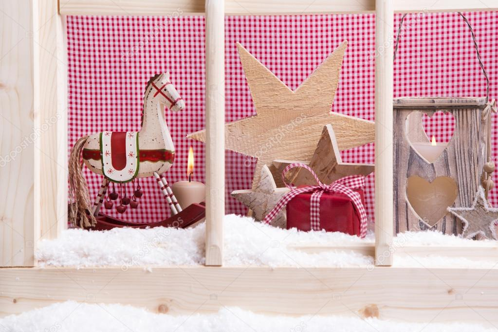 indoor window sill christmas decoration stock photo - Indoor Window Christmas Decorations