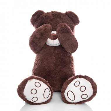 Lonely teddy bear covering eyes