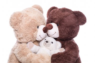 Happy teddy bears family