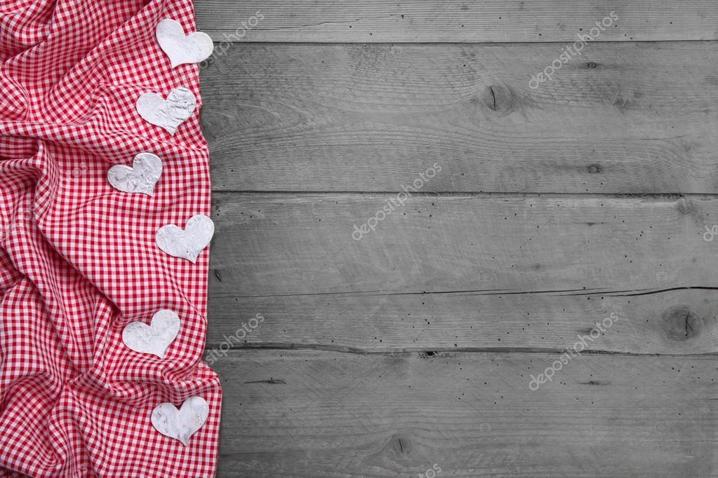marco a cuadros rojo y blanco con corazones — Foto de stock ...