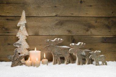 Wooden Christmas tree with elk, reindeer