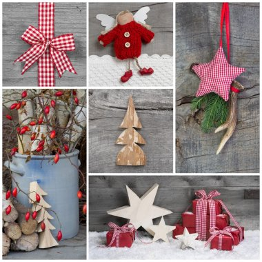Collage of Christmas photos and decorations - naturally with wood