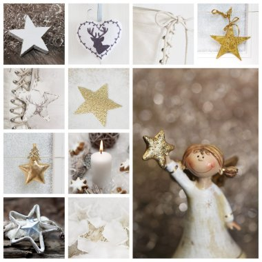 Christmas collage in white and gold with angel, candle, stars an