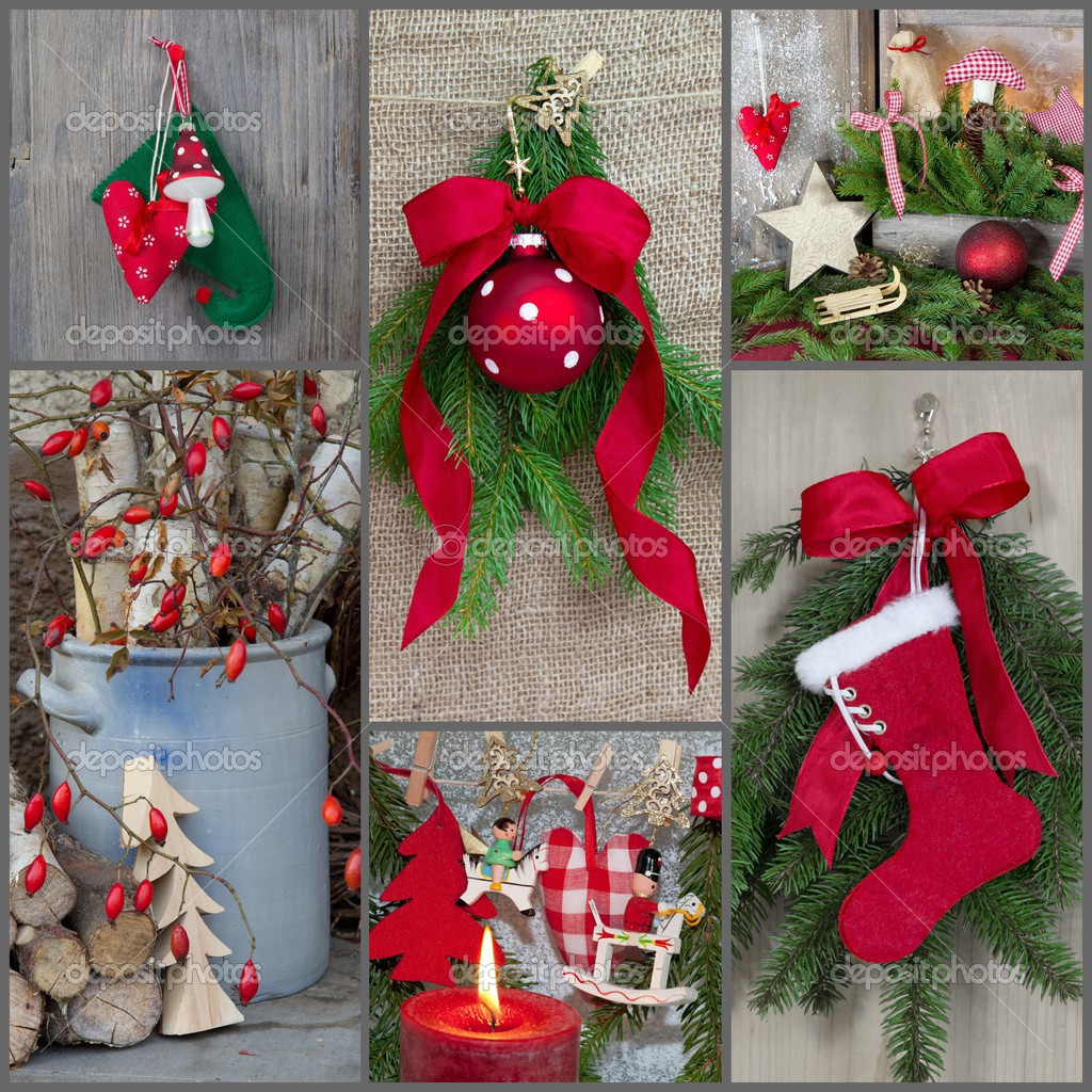 classic christmas decoration country style in red and green natural stock photo - Country Style Christmas Decorations