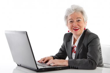 Mature lady with laptop