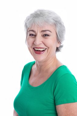 Happy woman with gray hair