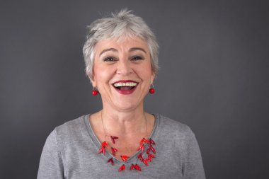 Laughing gray-haired lady