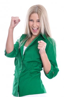 Successful businesswoman - jumping for joy with fists isolated