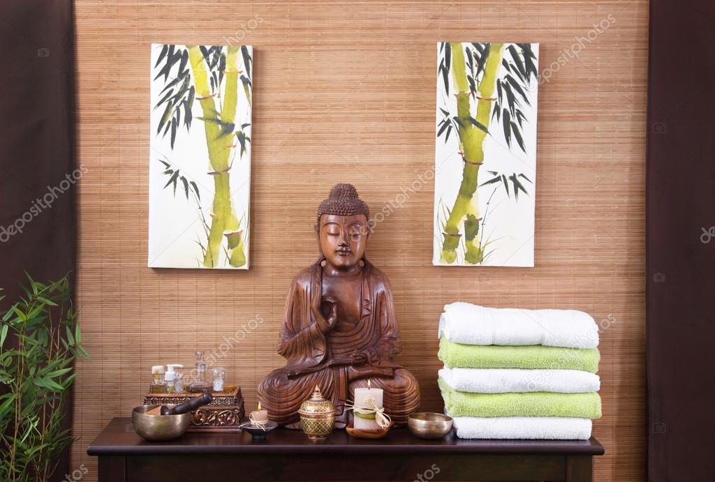 Traditional decoration in a spa massage in thailand with buddha ...