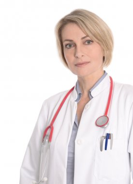 Healthy lifestyle: Portrait of a female doctor in white.