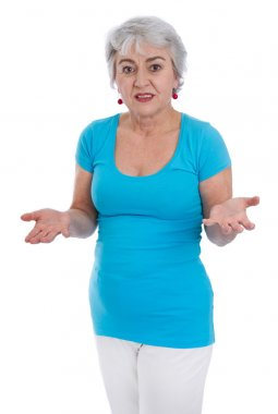 Isolated senior woman in a blue shirt in menopause.