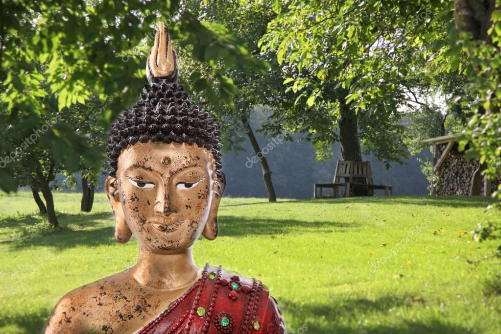 Buddha Sculpture In A Green Japanese Garden   Concept For Meditation. U2014  Photo By Jeanette.Dietl
