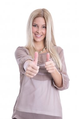 Thumbs up: happy isolated young blond girl have fun cheering with her fingers. stock vector