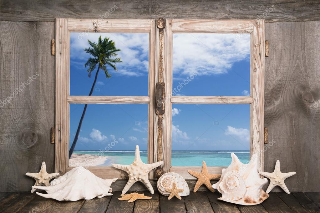 Фотообои Summer holidays on the white sand beach - sea view.