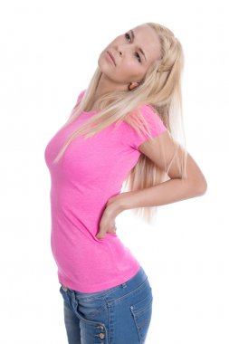 Isolated young blond woman with backache over white background.