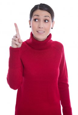Isolated young woman in red raising up her forefinger: good idea