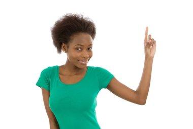 Smiling isolated afro american girl raising up her finger.