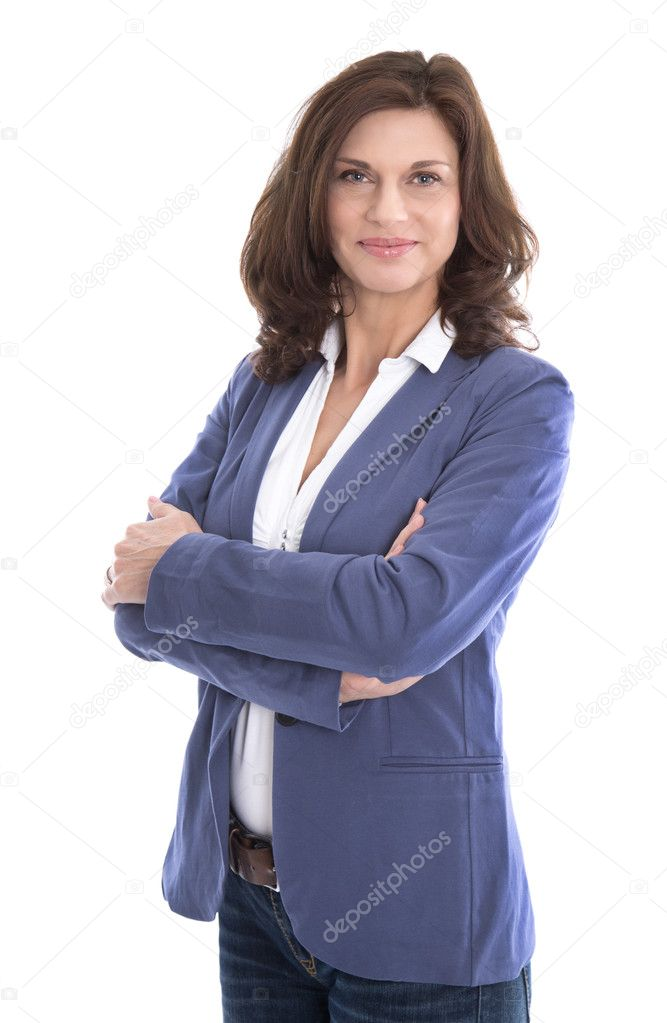 Portrait of a attractive and happy business woman isolated on wh
