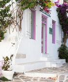 typický řecký dům s květinami ve vchodu na Kyklady