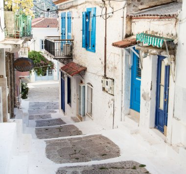 Traditional houses on the greek Islands in blue colors.