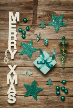 Merry Xmas greetings of wooden letters. Christmas decoration in
