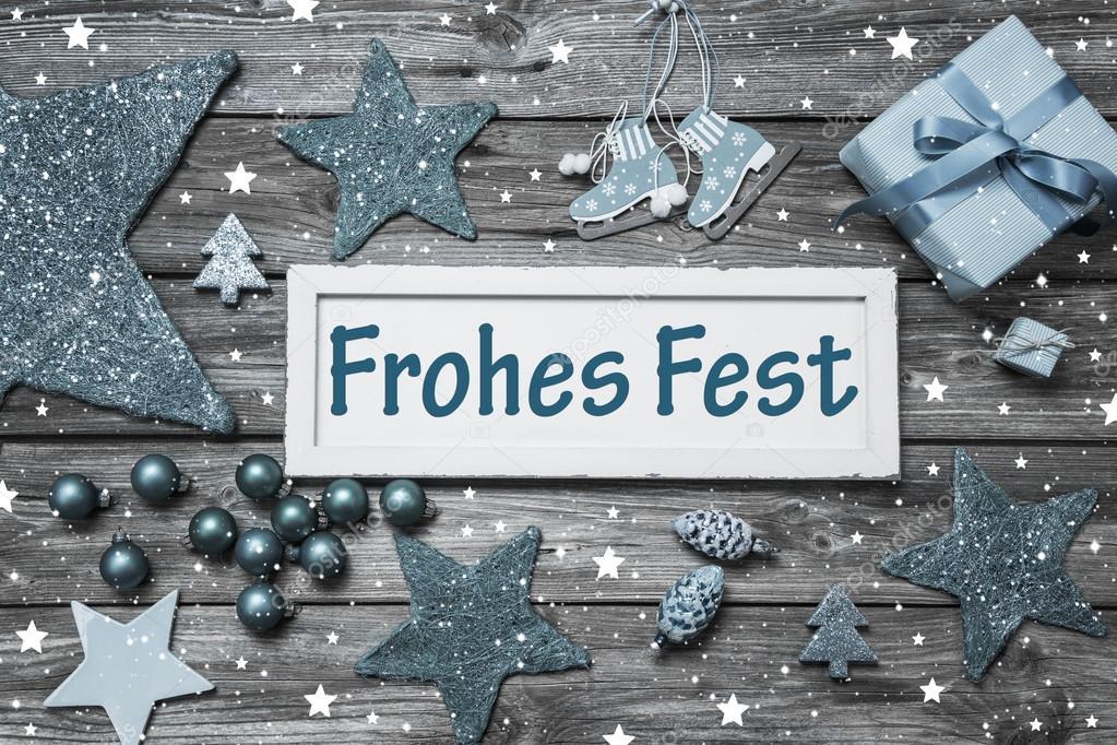 Shabby Chic Duitse Kerstkaart Met Tekst In Blauw Grijs En Wh