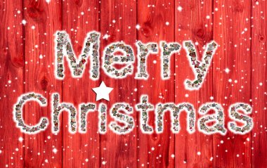 Happy Holidays: Christmas greeting card with text of a collage i