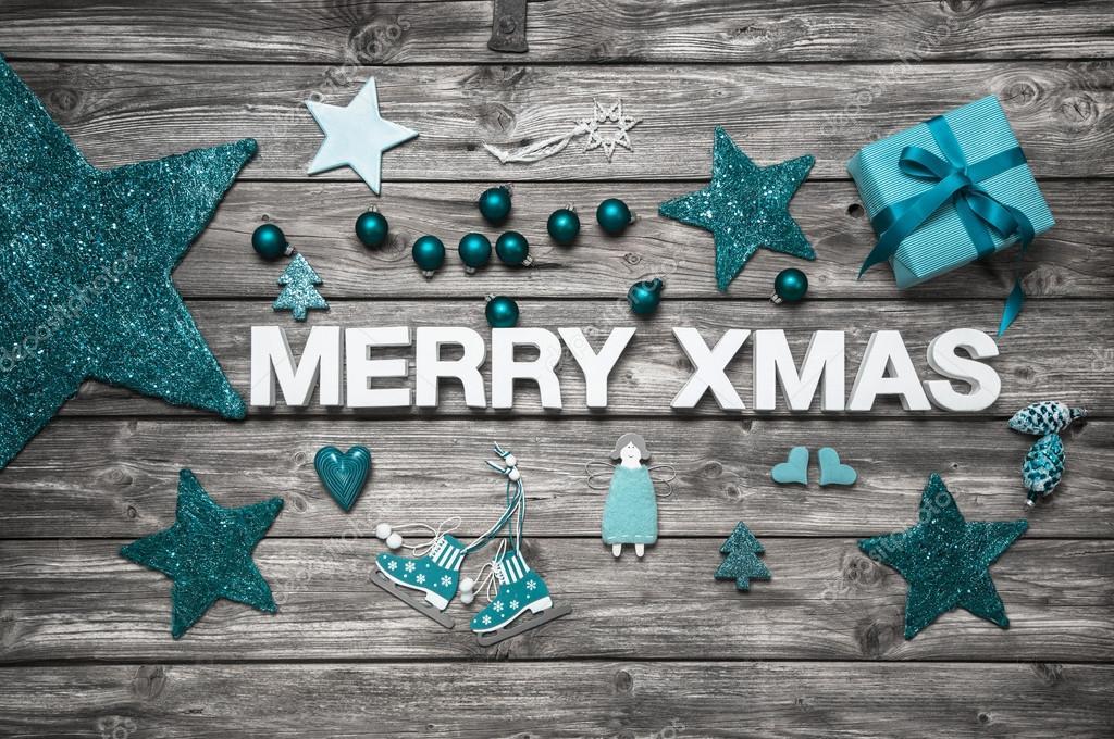 Frohe Weihnachten-Buchstaben in weiß mit Türkis Dekoration für eine ...