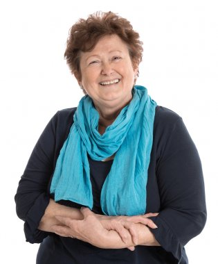 Portrait: Isolated happy pensioner woman wearing blue and turquo