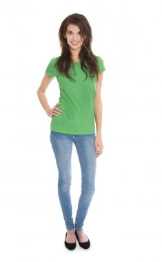 Isolated slim young woman in blue and green in whole body shoot.