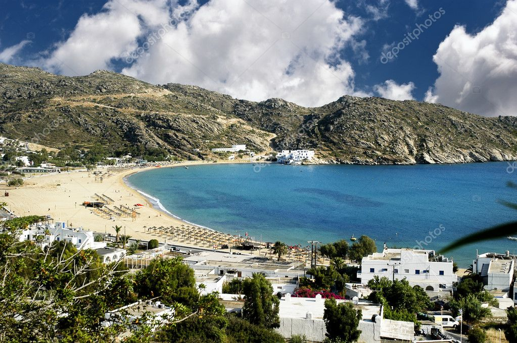 View of Mylopotas beach, Ios island, Greece