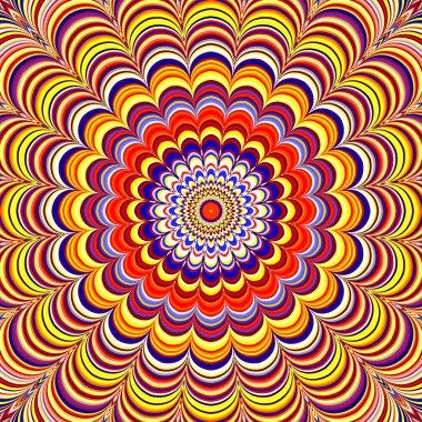 Colorful geometric striped mandala, raster