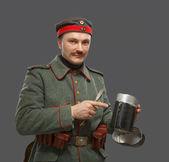 Fotografie deutscher Infanterist im Ersten Weltkrieg.